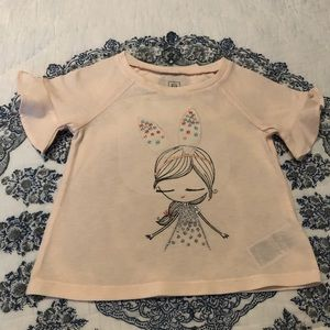 Baby Gap Girl Ruffled Sleeves T-Shirt 18-24 Months
